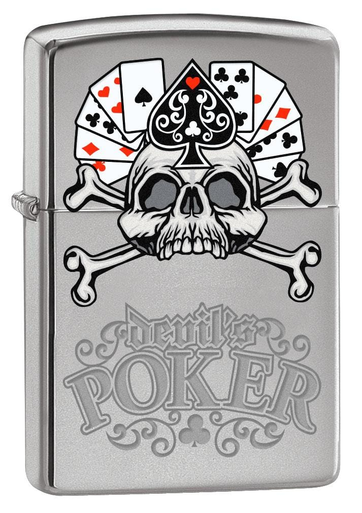 Zippo Lighter: Devil's Poker - High Polish Chrome 80169
