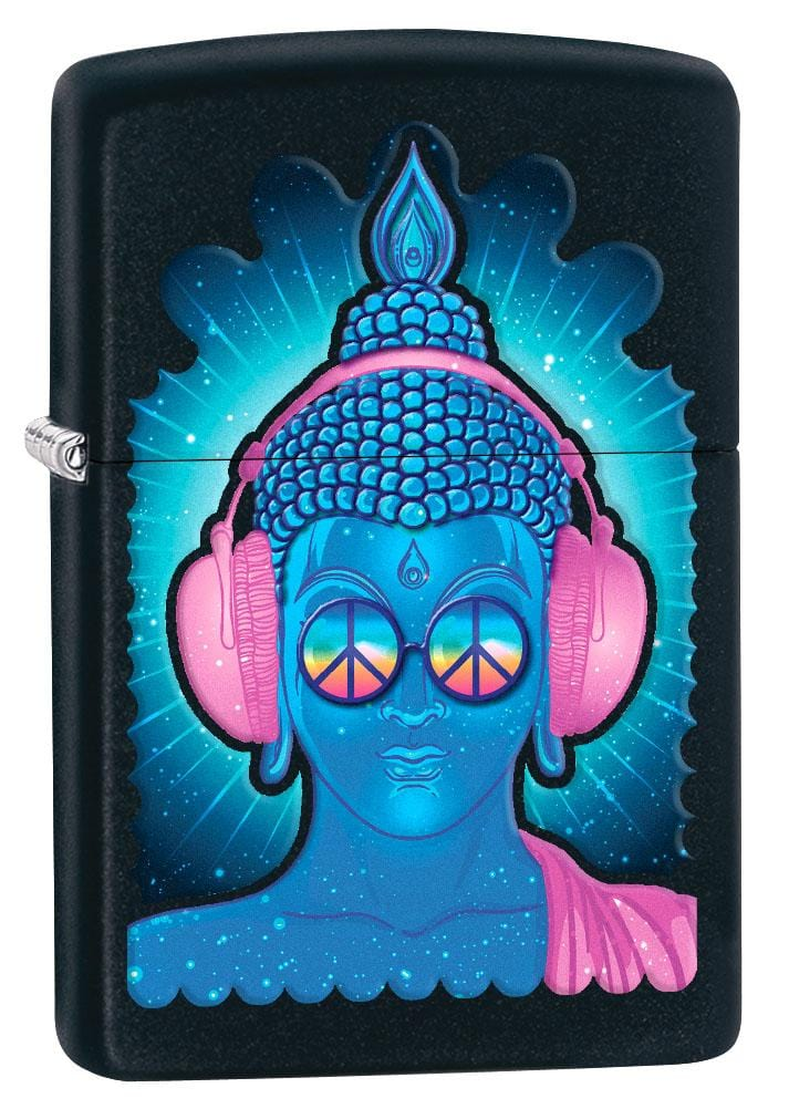 Zippo Lighter: Peace Buddha with Headphones - Black Matte 80202