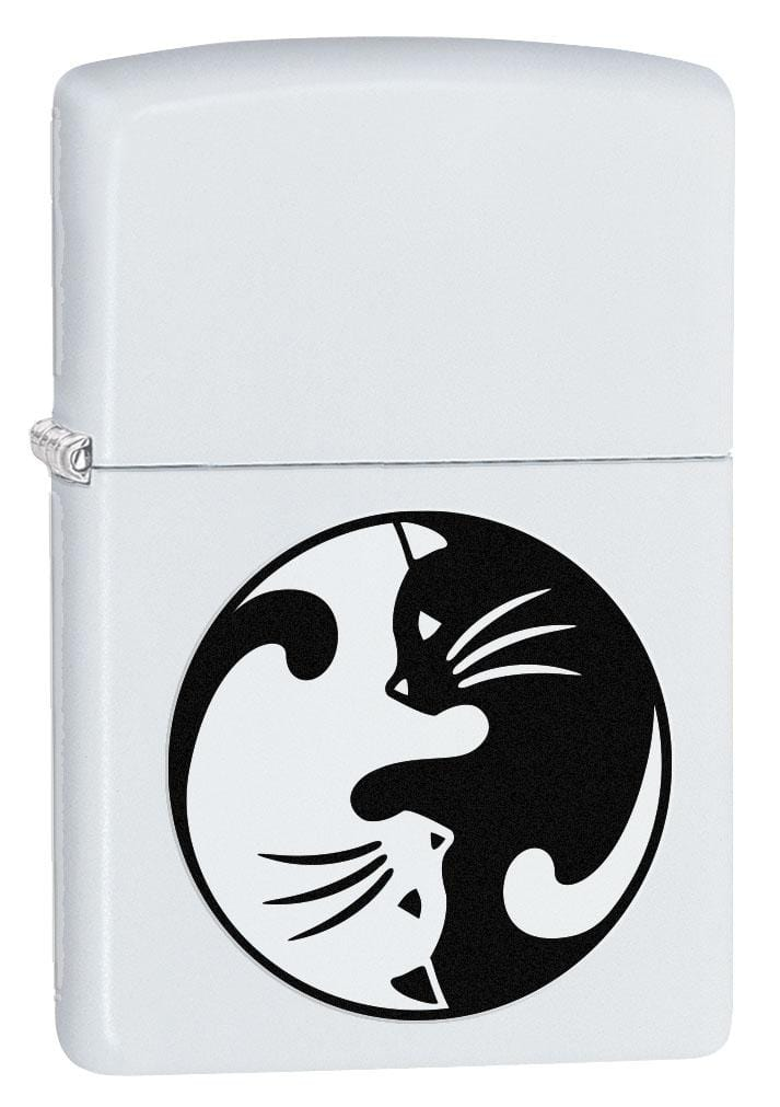 Zippo Lighter: Yin and Yang Cats - White Matte 80205