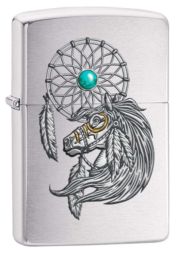 Zippo Lighter: Native American Horse and Dreamcatcher - Brushed Chrome 80211