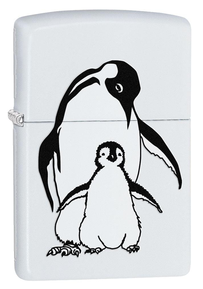 Zippo Lighter: Baby Penguin with Mother - White Matte 80226