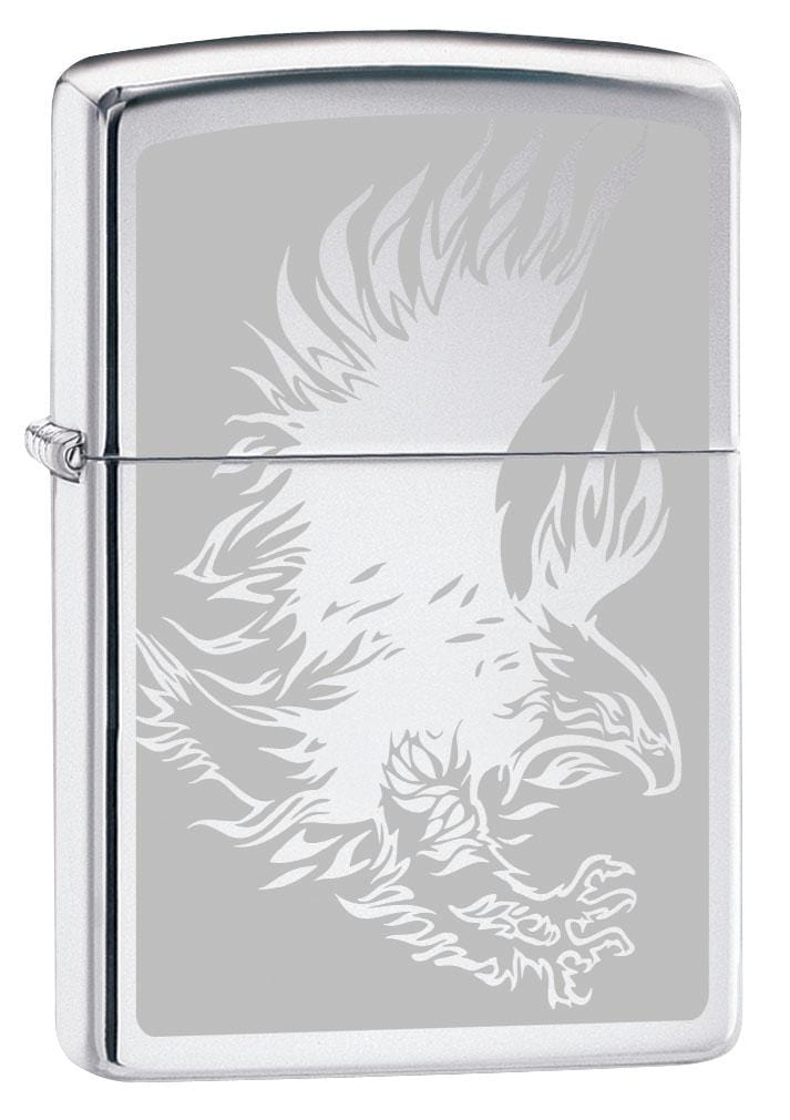 Zippo Lighter: Eagle with Talons, Engraved - High Polish Chrome 80235