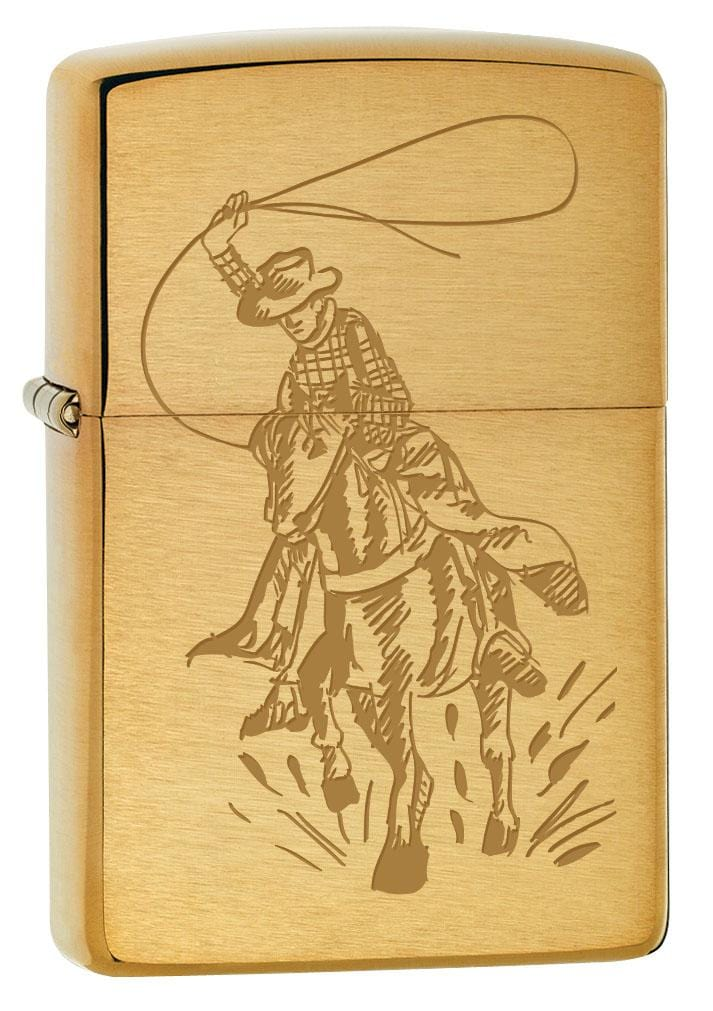 Zippo Lighter: Cowboy with Lasso on Horse - Brushed Brass 80238 (2029570785395)