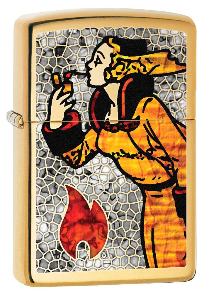 Zippo Lighter: Fusion Windy the Zippo Girl - High Polish Brass 80241
