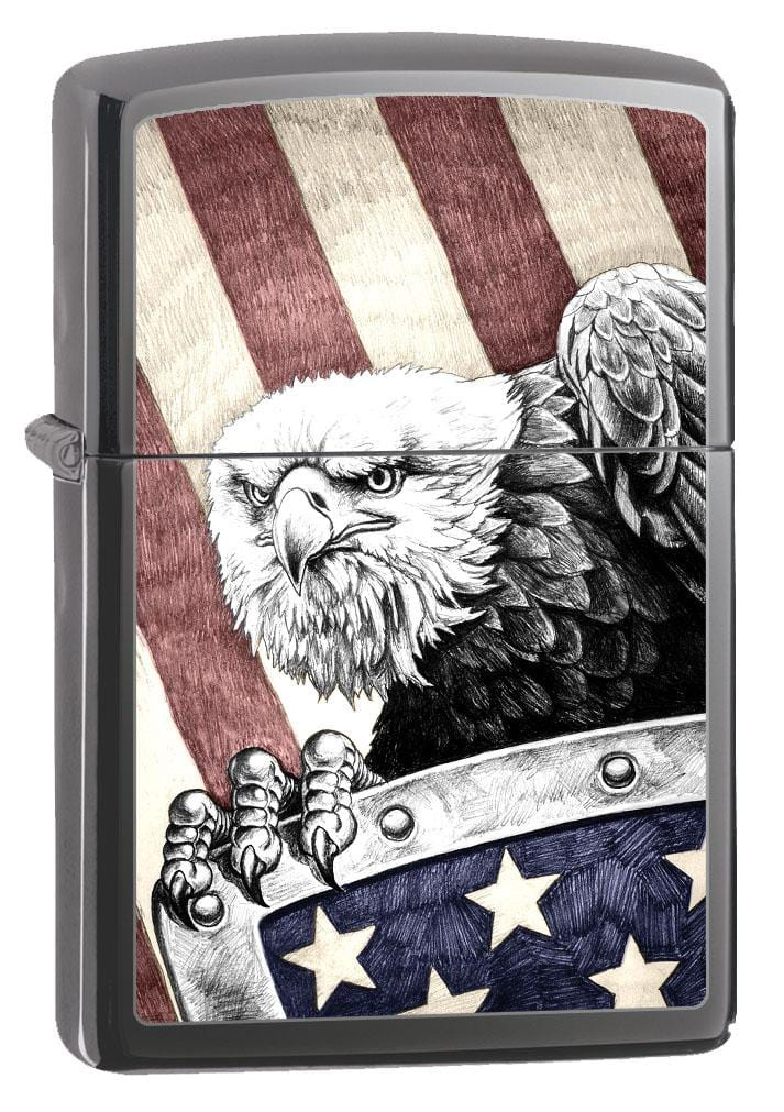 Zippo Lighter: Bald Eagle with Shield - Black Ice 80247