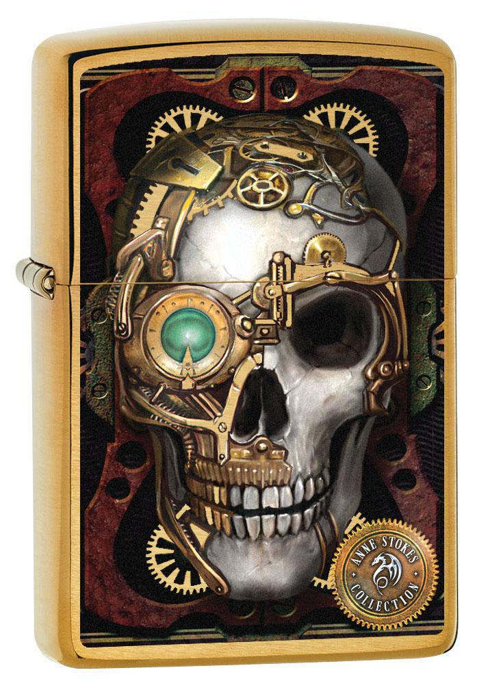 Zippo Lighter: Anne Stokes Steampunk Skull - Brushed Brass 80259 (4269193756787)