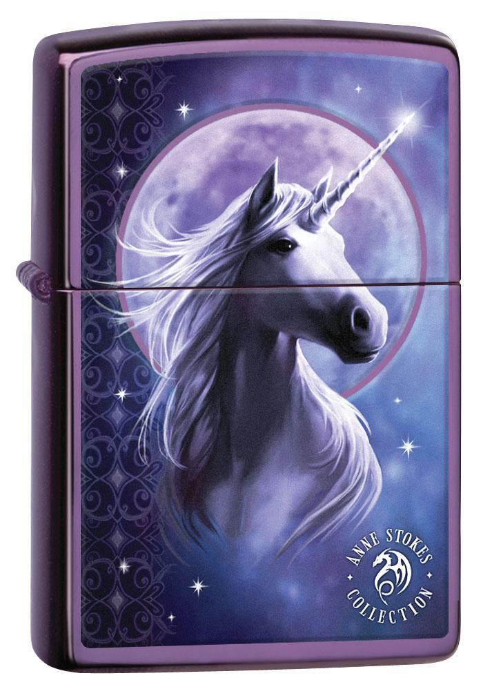 Zippo Lighter: Anne Stokes Unicorn and Full Moon - Abyss 80262