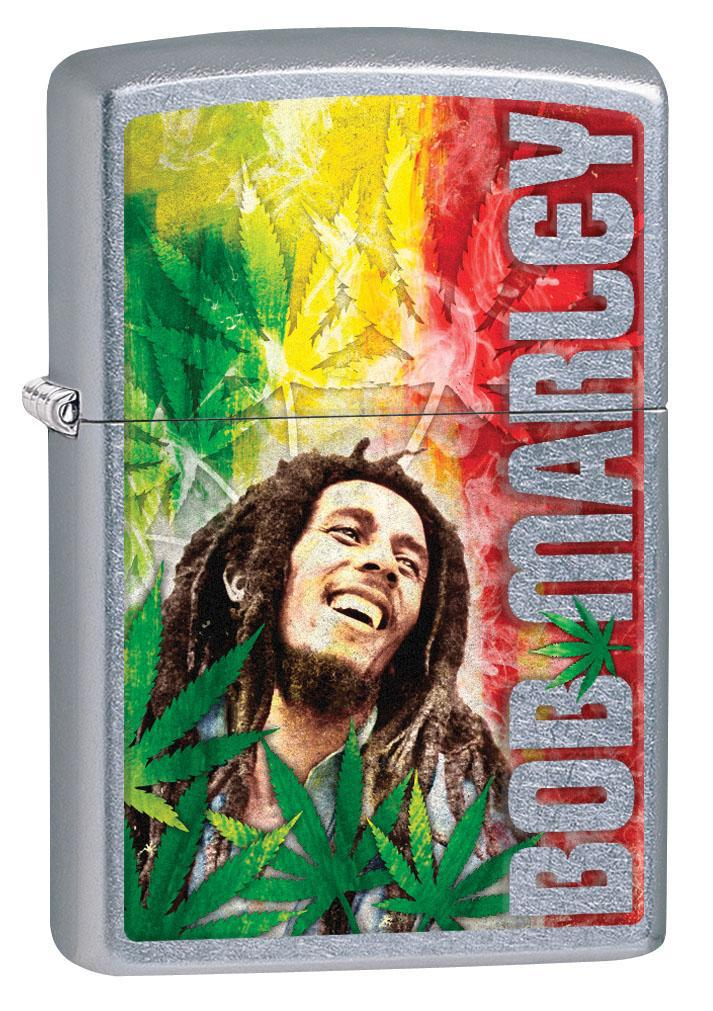 Zippo Lighter: Bob Marley and Weed Leaves - Street Chrome 80265