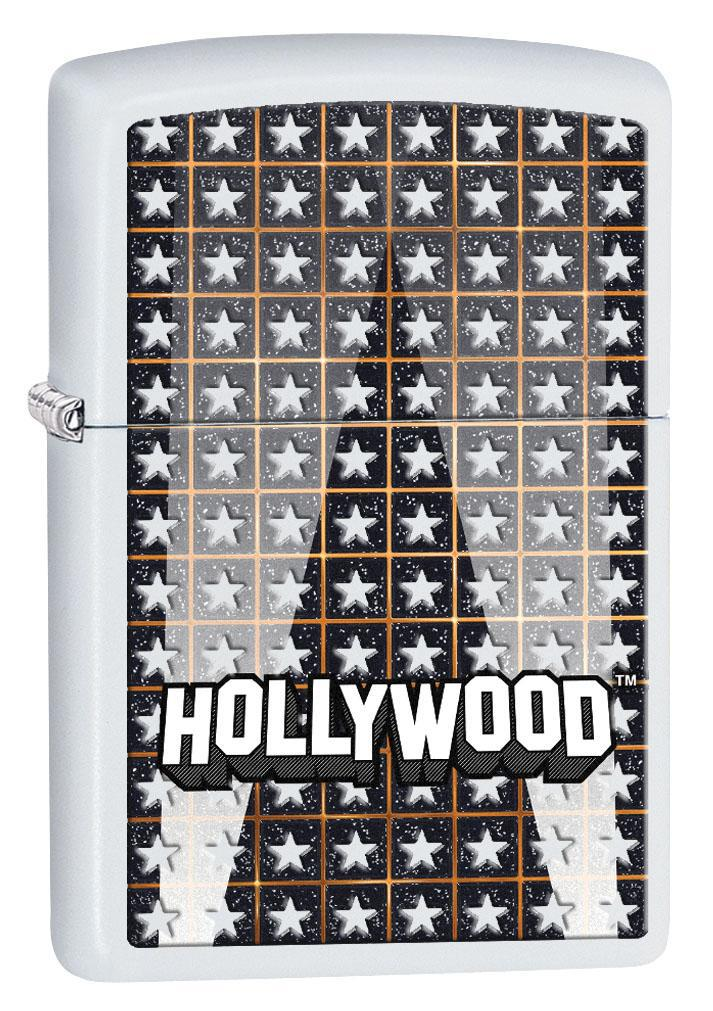 Zippo Lighter: Hollywood Logo and Stars - White Matte 80316 (4269194444915)