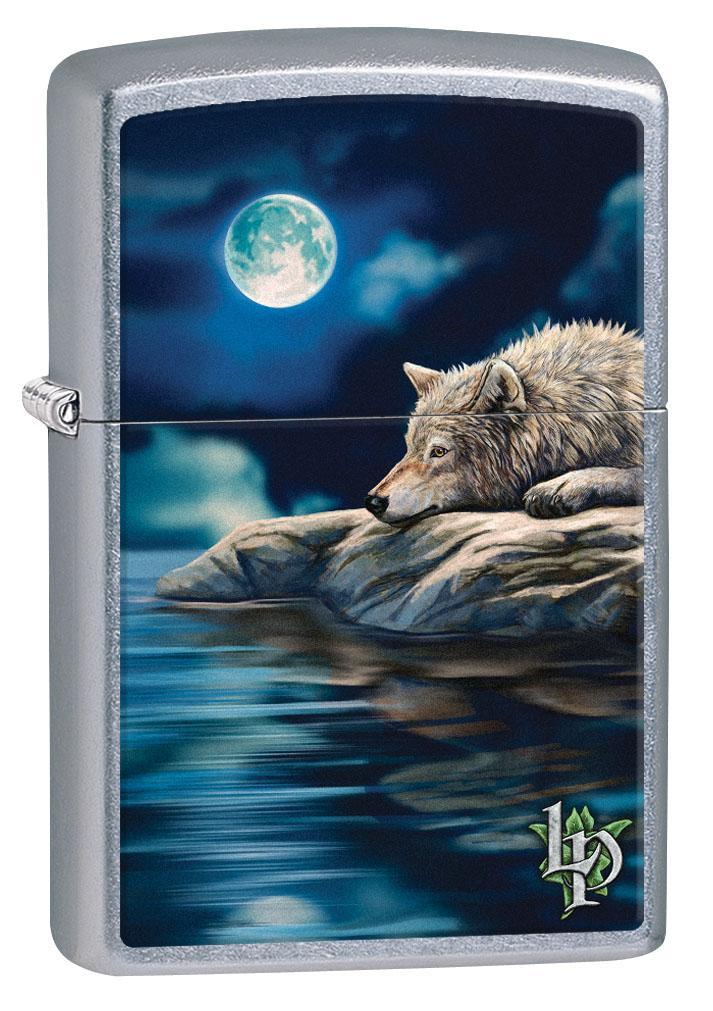 Zippo Lighter: Wolf Under Moonlight by Lisa Parker - Street Chrome 80331