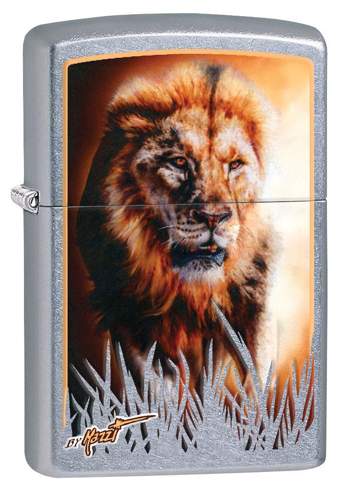 Zippo Lighter: Lion Hunting by Mazzi - Street Chrome 80364 (4269195001971)