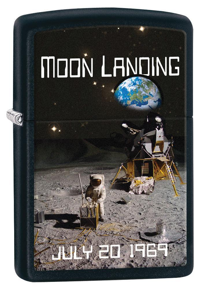 Zippo Lighter: Moon Landing July 20, 1969 - Black Matte 80415 (4269195624563)