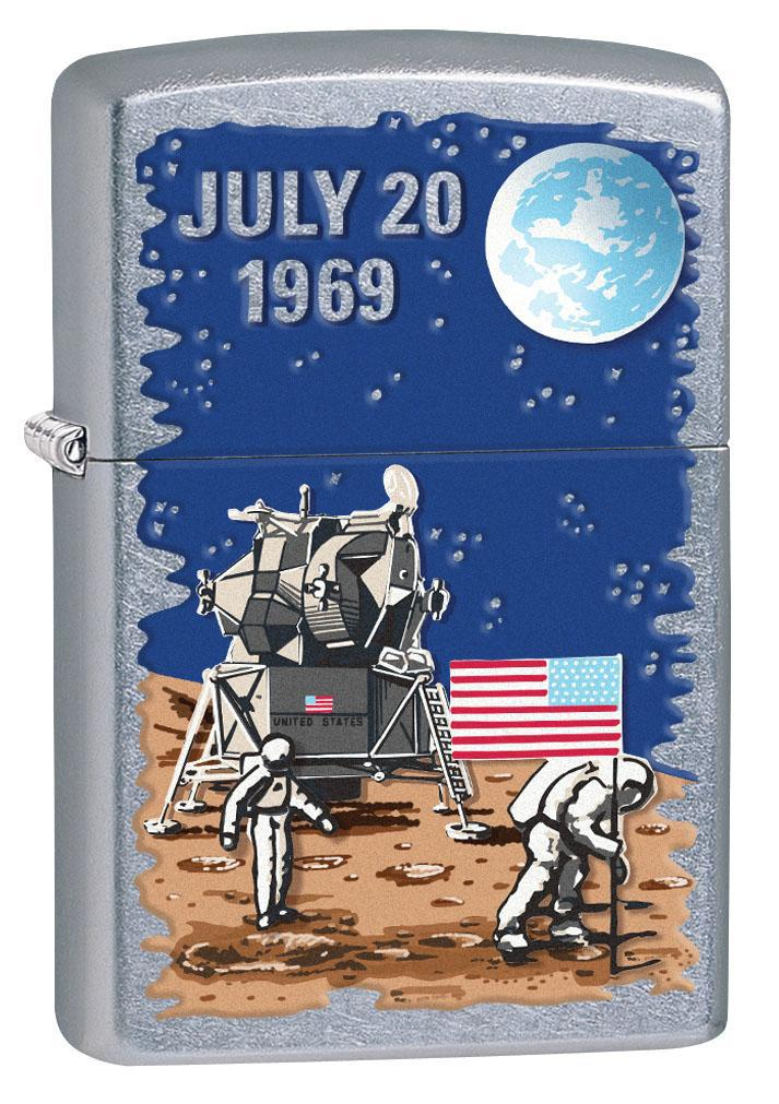 Zippo Lighter: Moon Landing July 20, 1969 - Street Chrome 80418 (4269195657331)