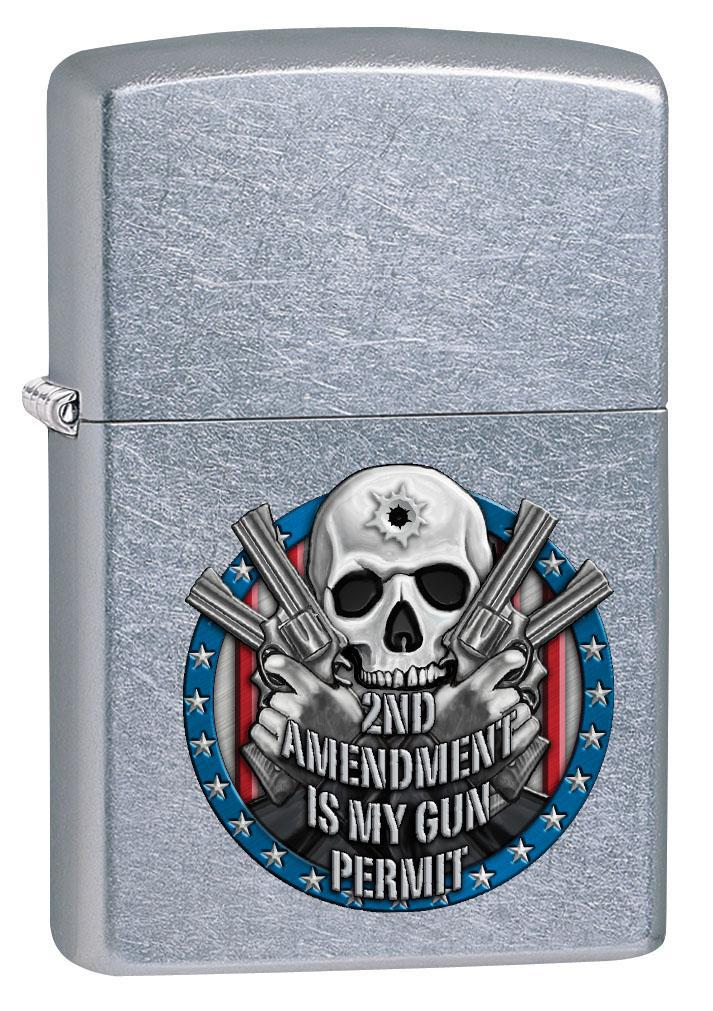 Zippo Lighter: Second Amendment is My Gun Permit - Street Chrome 80427