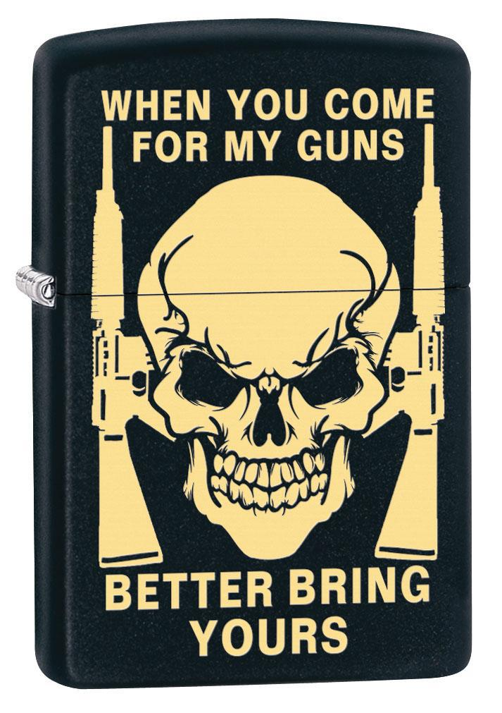 Zippo Lighter: Skull, Bring Your Guns Engraved - Black Matte 80430