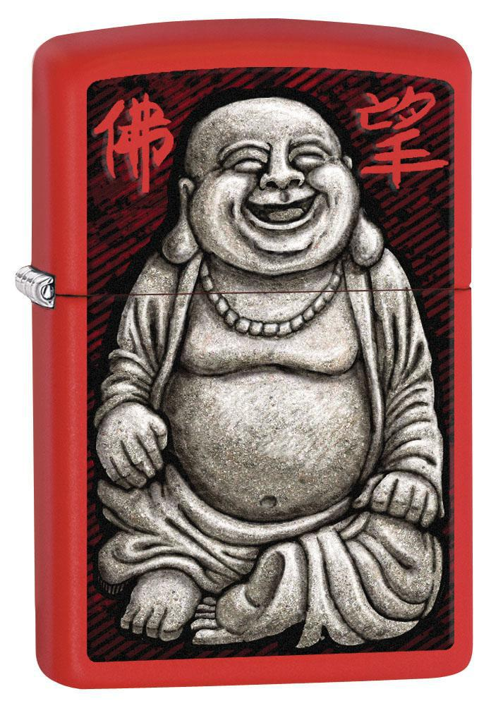 Zippo Lighter: Laughing Buddha - Red Matte 80439 (4269195886707)