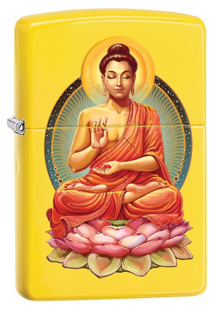 Zippo Lighter: Buddha on Flowers - Lemon Matte 80442 (4269195919475)