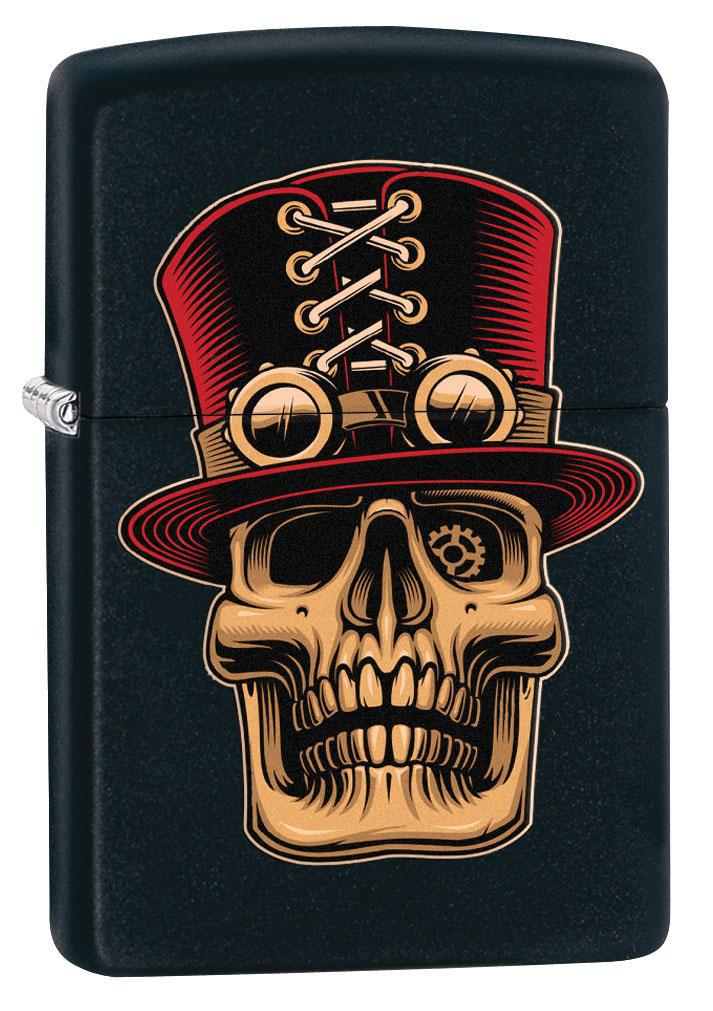 Zippo Lighter: Steampunk Skull with Top Hat - Black Matte 80451