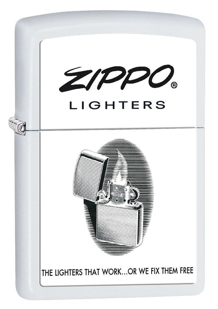 Zippo Lighter: Vintage Ad, The Lighters That Work - White Matte 80457