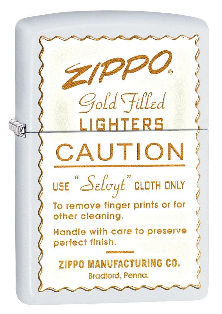 Zippo Lighter: Vintage Ad, Gold Filled Lighters - White Matte 80460