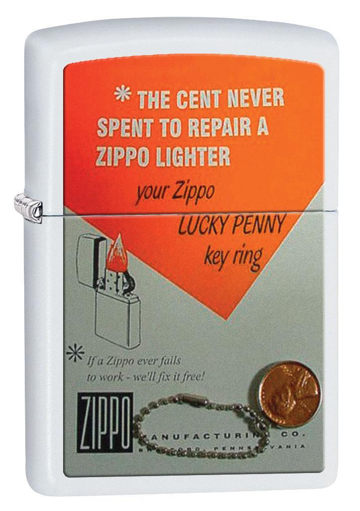 Zippo Lighter: Vintage Ad, Cent Never Spent - White Matte 80463