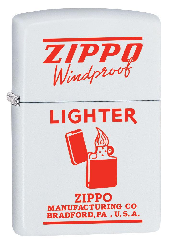 Zippo Lighter: Vintage Ad, Zippo Windproof in Red - White Matte 80466 (4269196247155)
