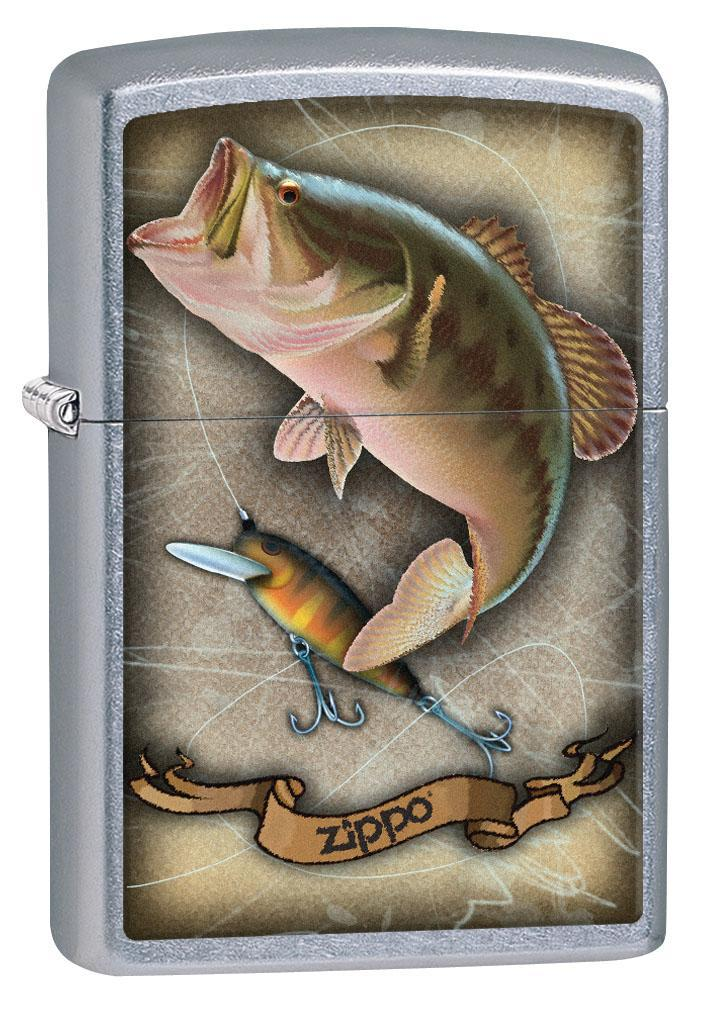 Zippo Lighter: Bass Fishing with Lure - Street Chrome 80472 (4269196312691)