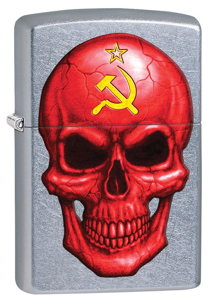 Zippo Lighter: Skull with Hammer and Sickle - Street Chrome 80490