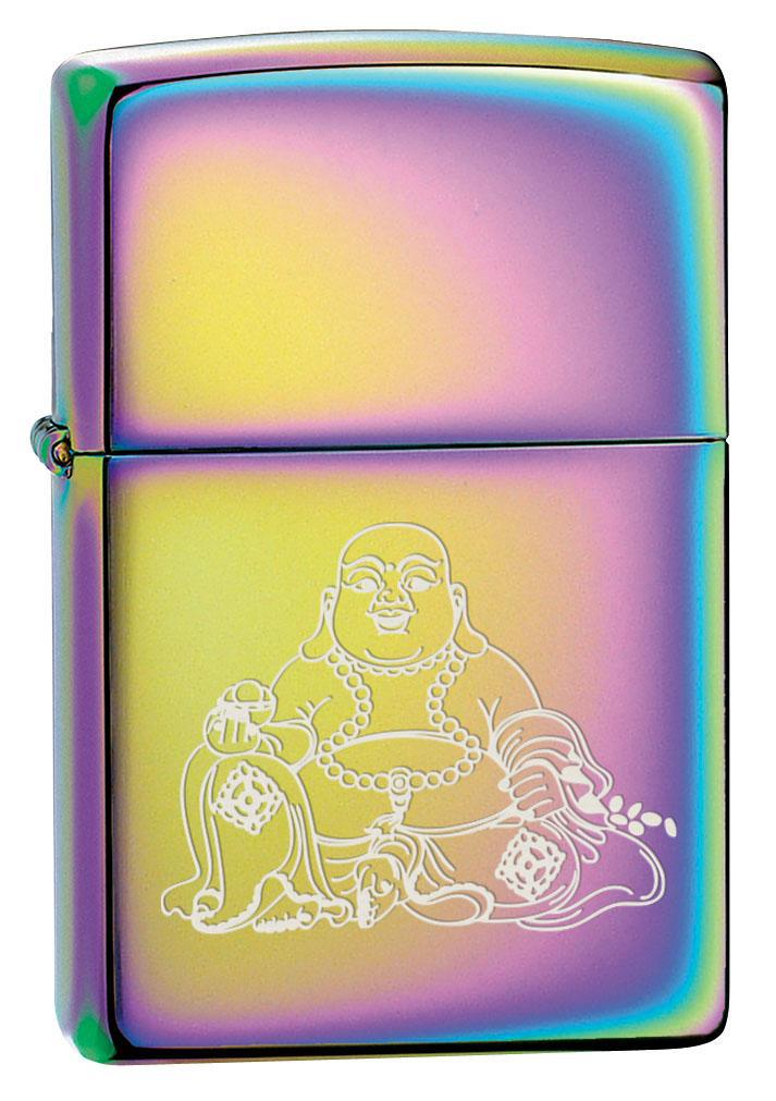 Zippo Lighter: Engraved Laughing Buddha - Spectrum 80502