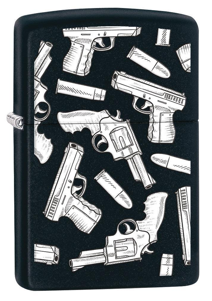 Zippo Lighter: Guns and Bullets Pattern - Black Matte 80508 (4269196607603)