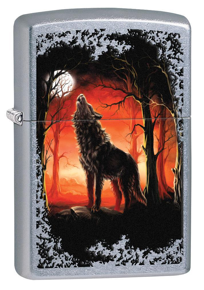 Zippo Lighter: Howling Wolf in the Trees - Street Chrome 80568