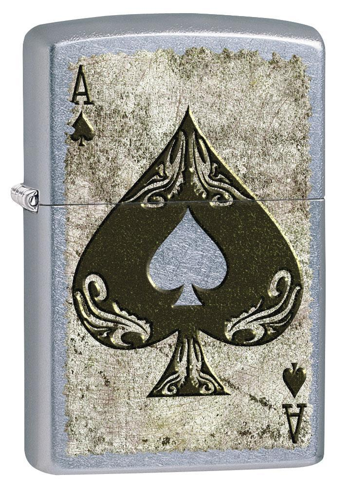 Zippo Lighter: Distressed Ace of Spades - Street Chrome 80574