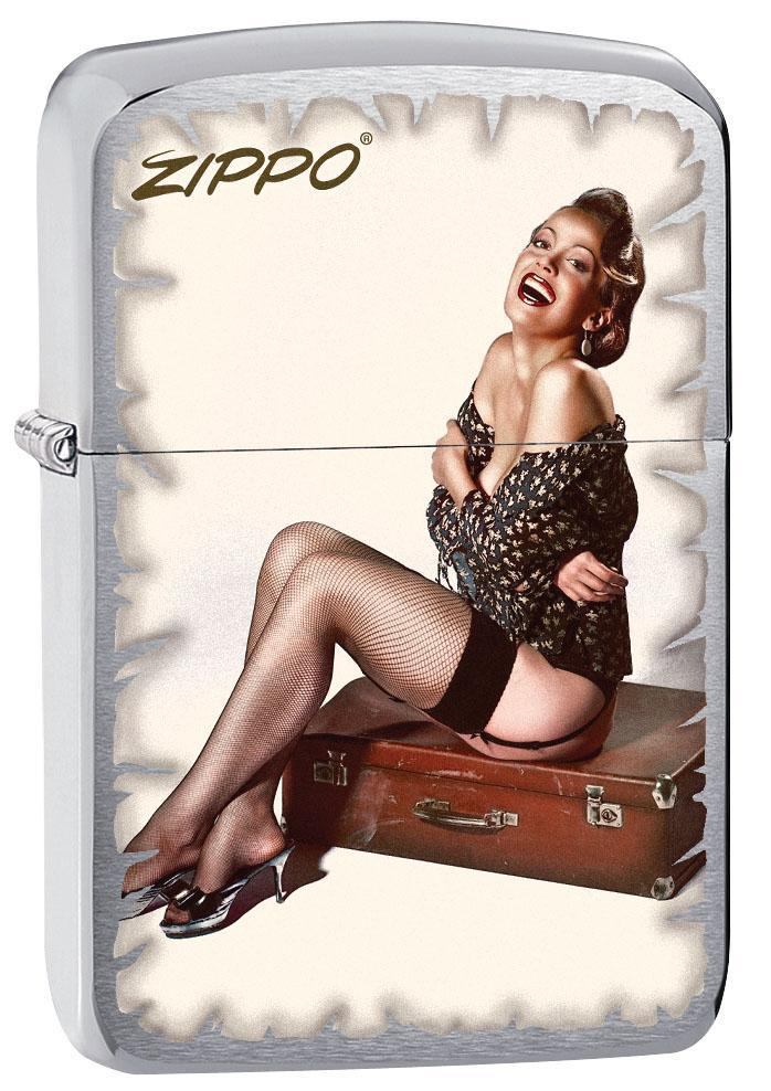 Zippo Lighter: Pin-up Girl on Suitcase - Brushed Chrome 80589 (4269197656179)