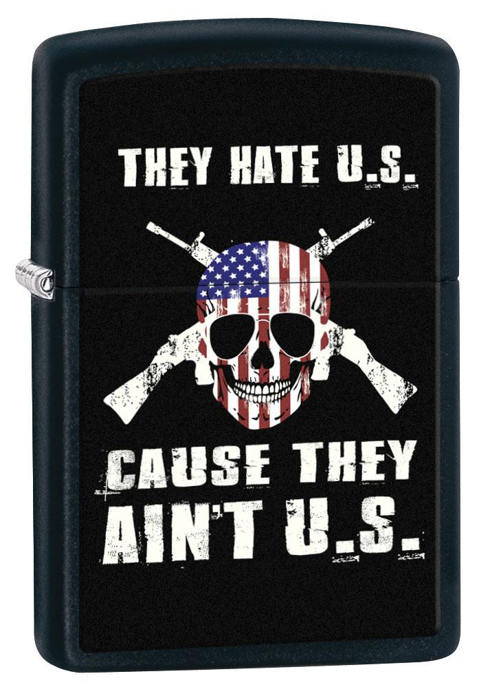 Zippo Lighter: American Flag Skull and Cross Guns - Black Matte 80595