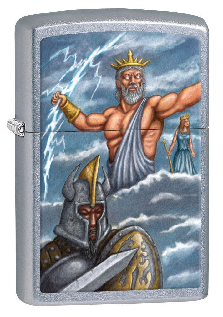 Zippo Lighter: Greek God Zeus - Street Chrome 80607