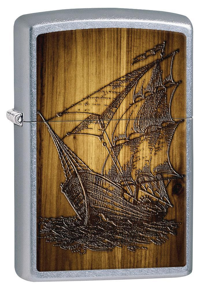 Zippo Lighter: Sailing Ship Drawing - Street Chrome 80610