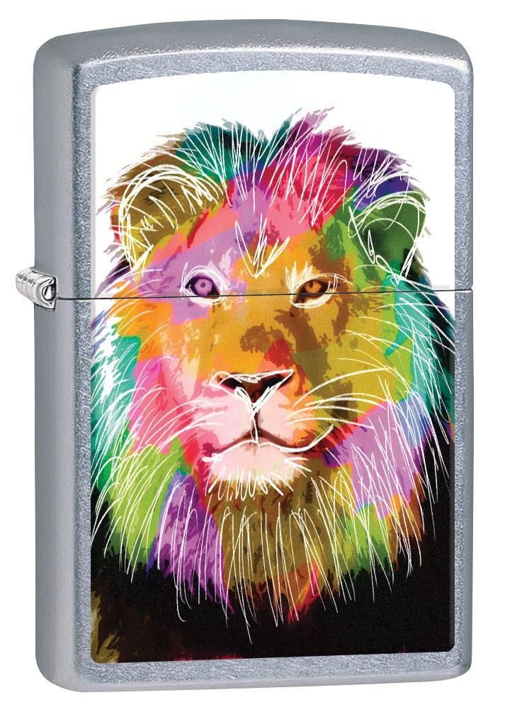 Zippo Lighter: Painted Lion in Color - Street Chrome 80613