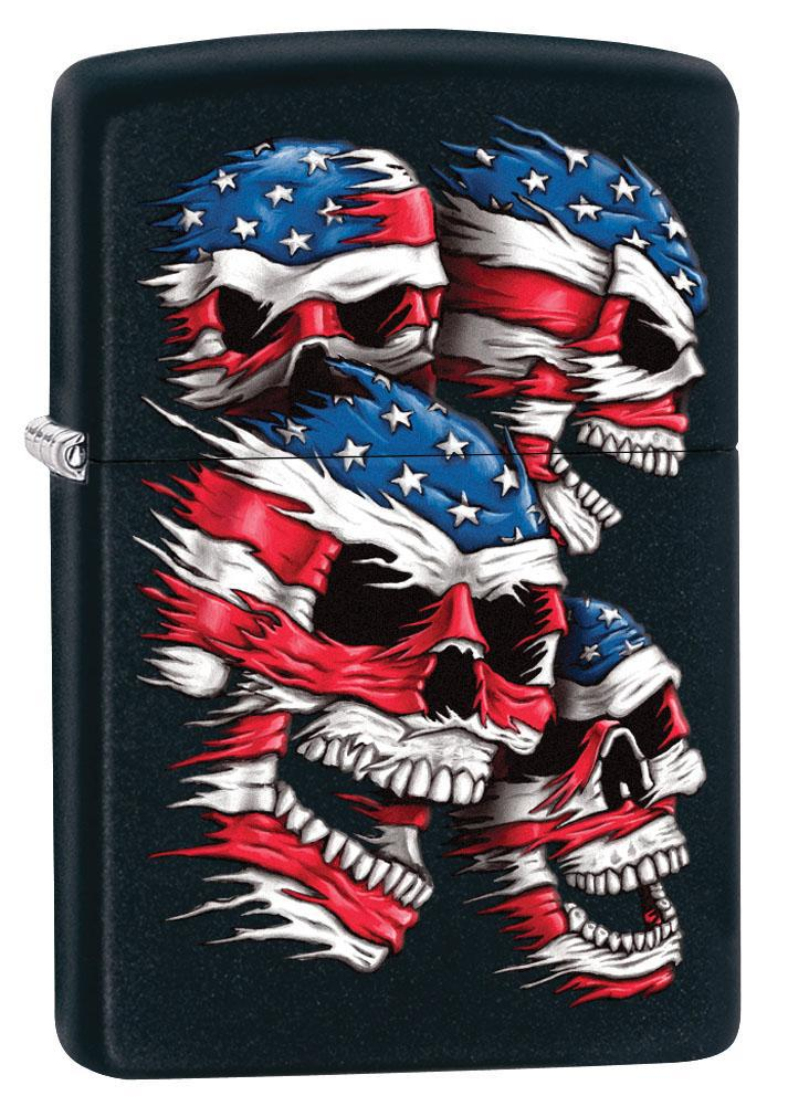 Zippo Lighter: American Flag Skulls - Black Matte 80616