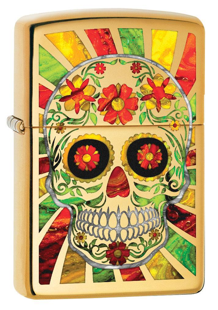 Zippo Lighter: Fusion Day of the Dead Skull - High Polish Brass 80619