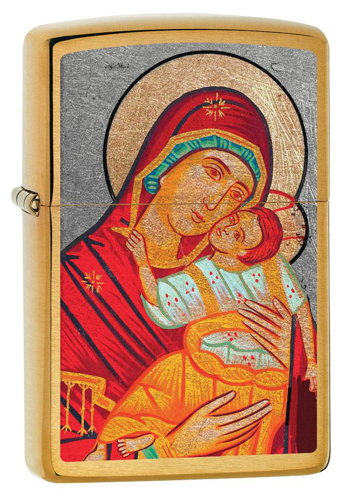 Zippo Lighter: Virgin Mary with Child - Brushed Brass 80631