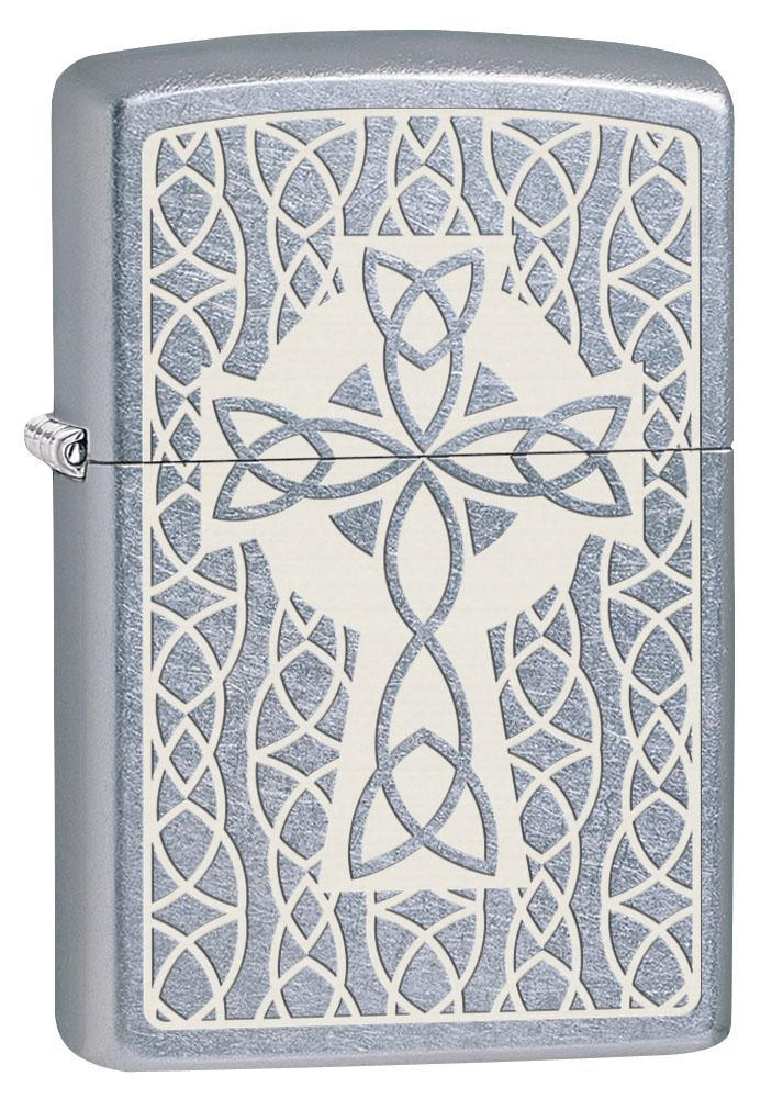 Zippo Lighter: Celtic Cross Engraved - Street Chrome 80634 (4269198147699)