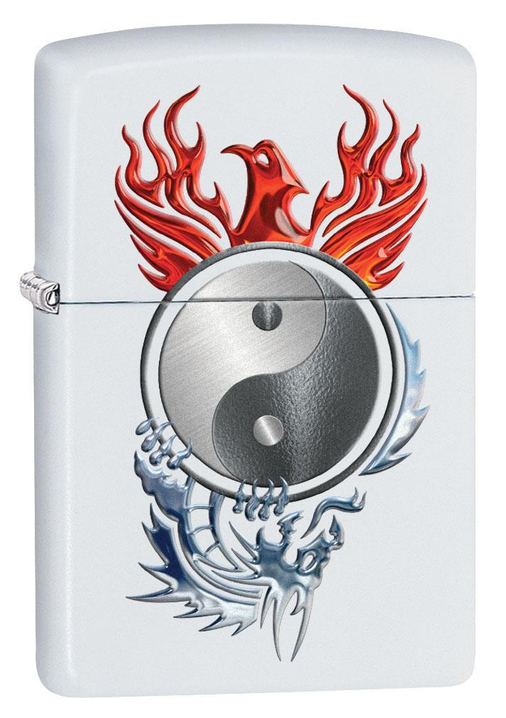 Zippo Lighter: Yin and Yang, Phoenix and Dragon - White Matte 80649