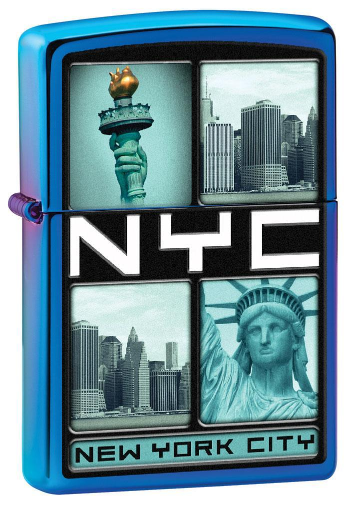 Zippo Lighter: New York City Photos - High Polish Indigo 80652