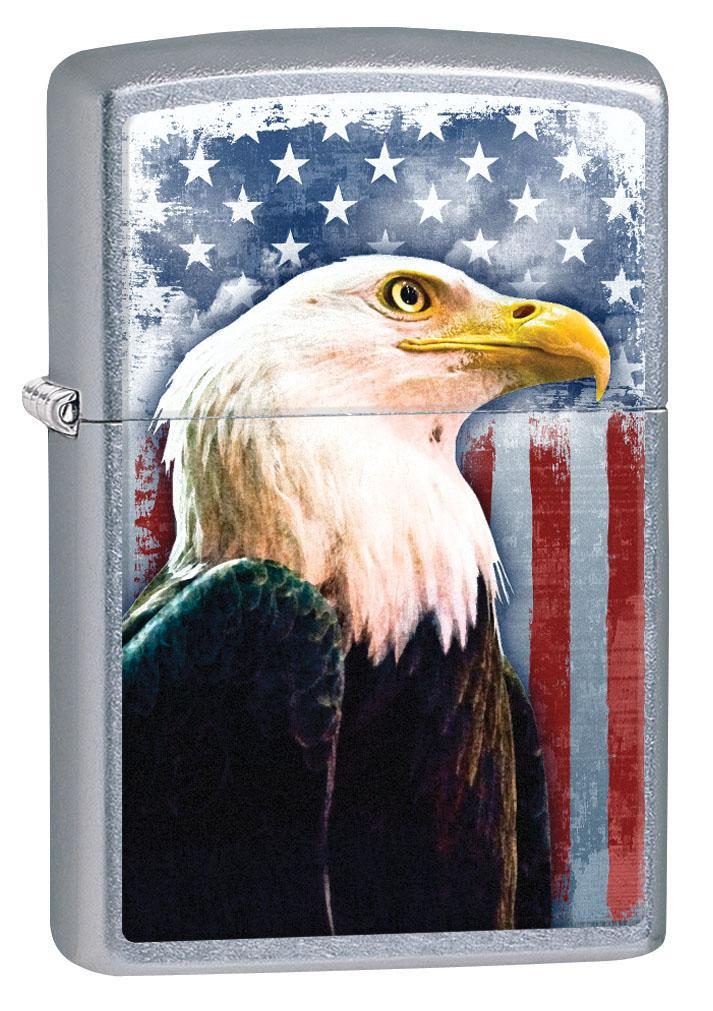 Zippo Lighter: Bald Eagle with American Flag - Street Chrome 80658