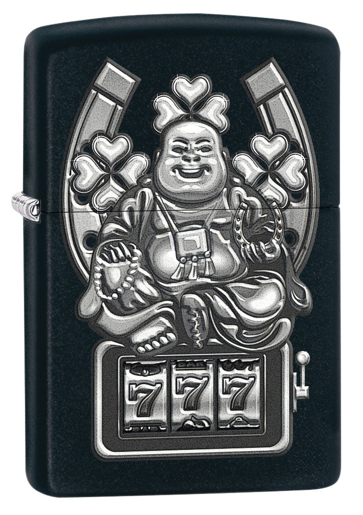 Zippo Lighter: Buddha and Lucky Symbols - Black Matte 80753