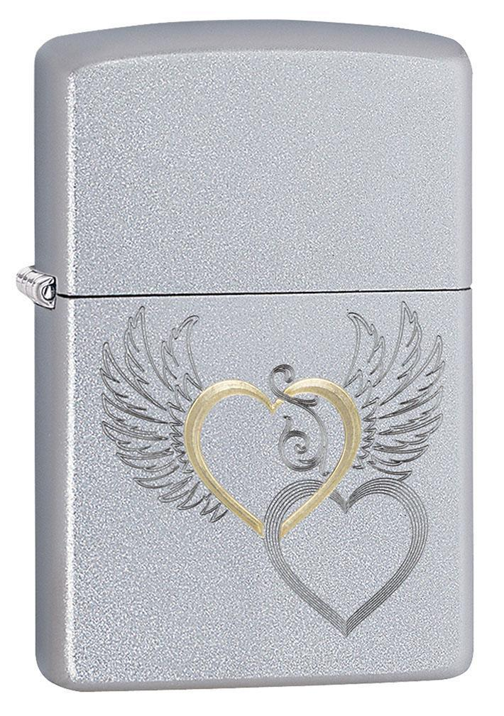Zippo Lighter: Hearts and Wings, Engraved - Satin Chrome 80768