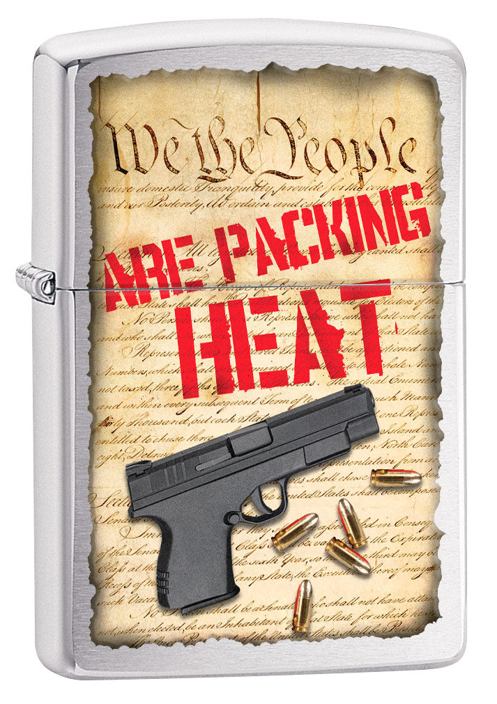 Zippo Lighter: We the People are Packing Heat - Brushed Chrome 80772
