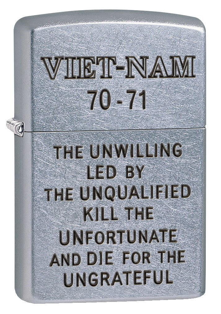 Zippo Lighter: Vietnam Trench Art, Unwilling - Street Chrome 80781