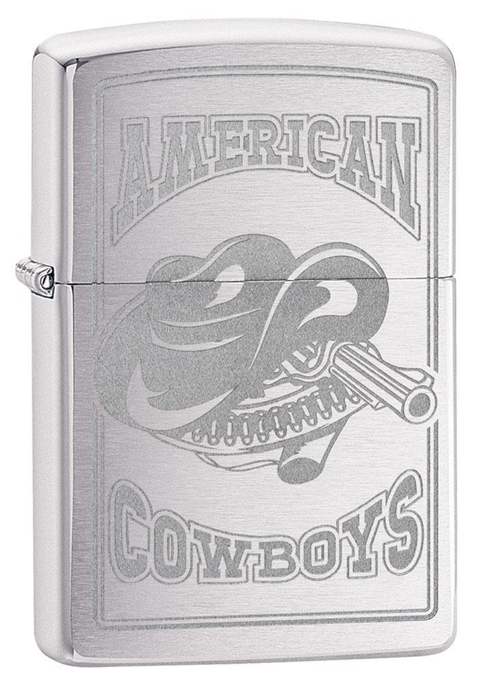 Zippo Lighter: American Cowboys, Engraved - Brushed Chrome 80800