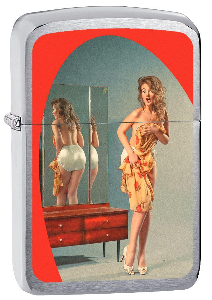 Zippo Lighter: Pin-up Girl in the Mirror - Brushed Chrome 80837